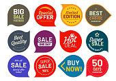 Sale quality badges. Round hundred percent assured label badge. Sticker vector illustration icons set