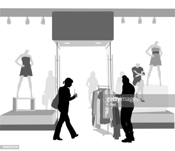 sale rack clothes attention - mannequin stock illustrations, clip art, cartoons, & icons