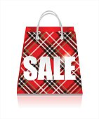 Sale red  bag.Shopping background.