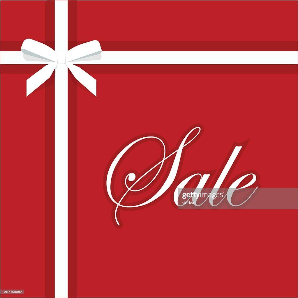 Sale red banner vector illustration, elegant gift bow ribbon promotion