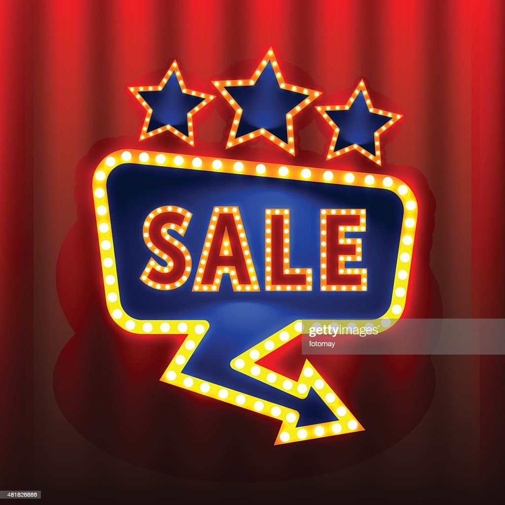 Sale retro banners on the red curtain background