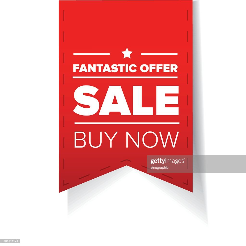 Sale ribbon red vector - buy now