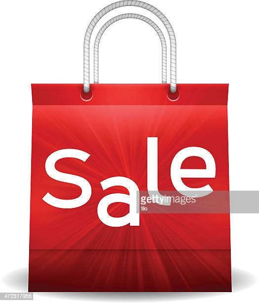 sale shopping bag - goodie bag stock illustrations, clip art, cartoons, & icons