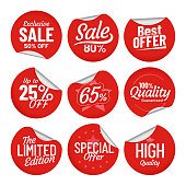 Sale sticker. Shopping tag label, red on sale stickers with bent edge and price off labels isolated vector set