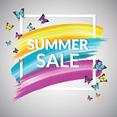 Sale Summer Banner design  with frame and butterflies