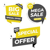 Sale Tag and Banner Icon Set. Special Offer, Big Sale, Discount, Mega Sale and Online Shopping Banner Template Vector Design on White Background.