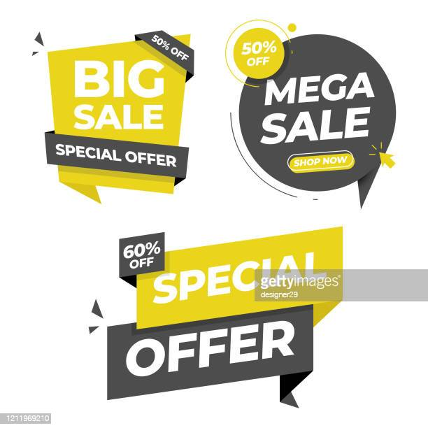 illustrazioni stock, clip art, cartoni animati e icone di tendenza di sale tag and banner icon set. special offer, big sale, discount, mega sale and online shopping banner template vector design on white background. - saldi