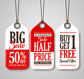 Sale Tag Design Collection Made of Paper for Promotion