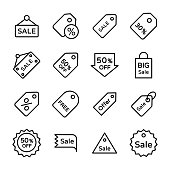 Sale Tag Line Vector Icons Set