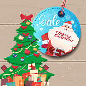Sale Tag Marry Christmas Concept Shopping Poster Background With Pine Tree
