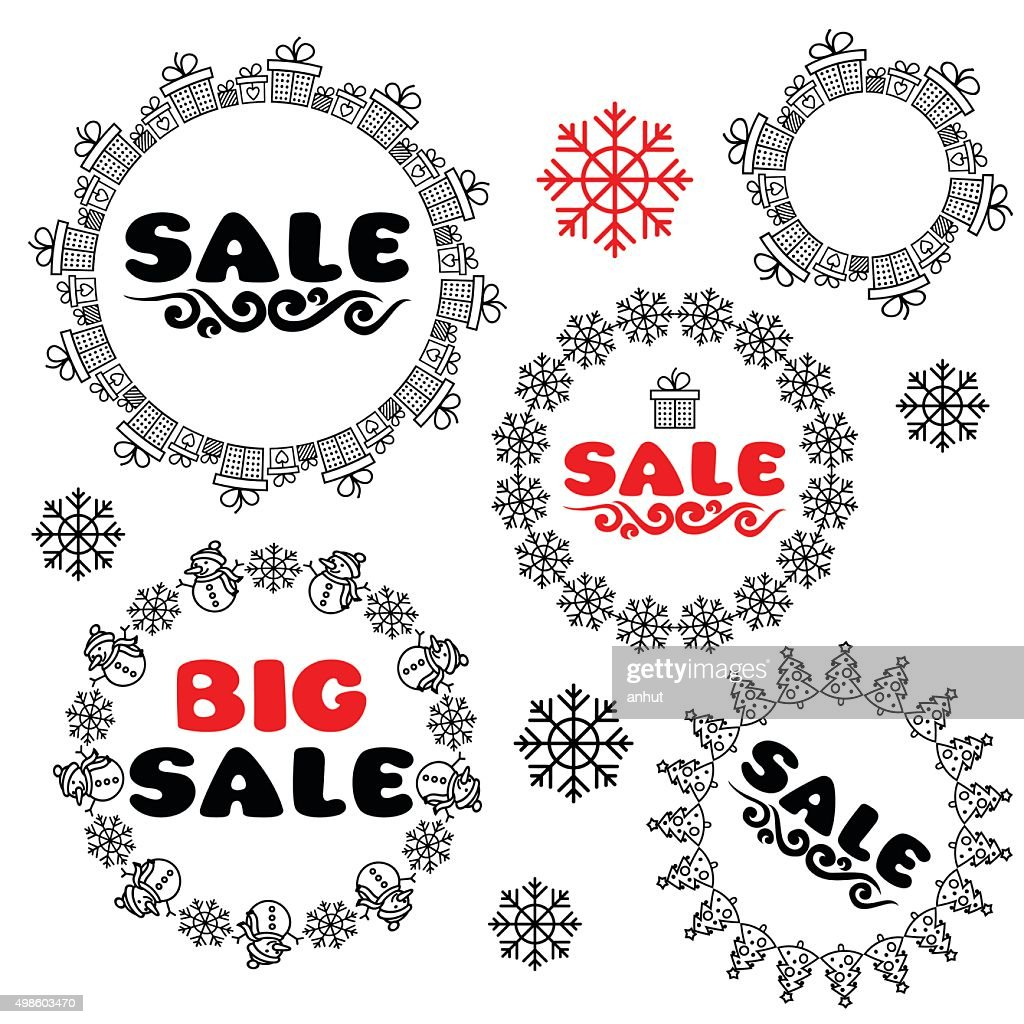 Sale Tags And Frame With Snowman Snowflake Gifts Christmas Tree ...