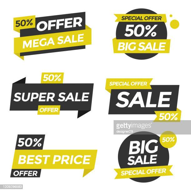 sale tags icon set. special offer, big sale, discount, vector design. store, online shopping flat design on white background. - reduction stock illustrations