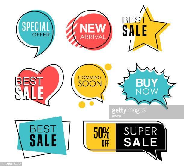 verkauf tags in sprachblasen design - preisschild stock-grafiken, -clipart, -cartoons und -symbole