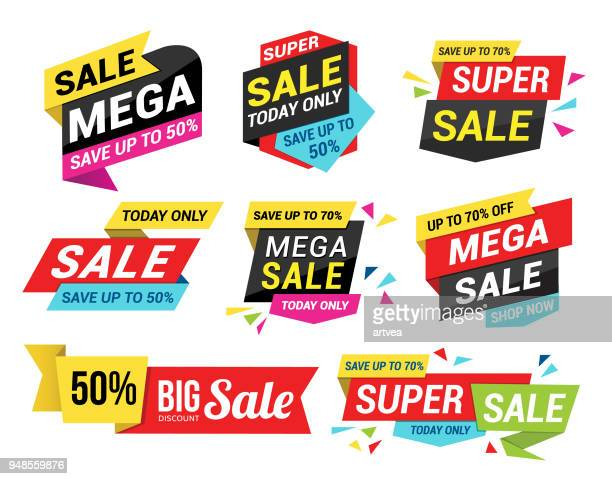 sale tags - banner sign stock illustrations