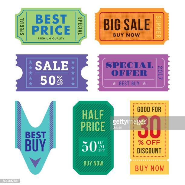 sale tickets vector set - coupon stock illustrations