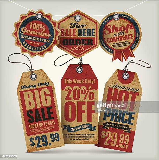 sale vintage tags - brown stock illustrations