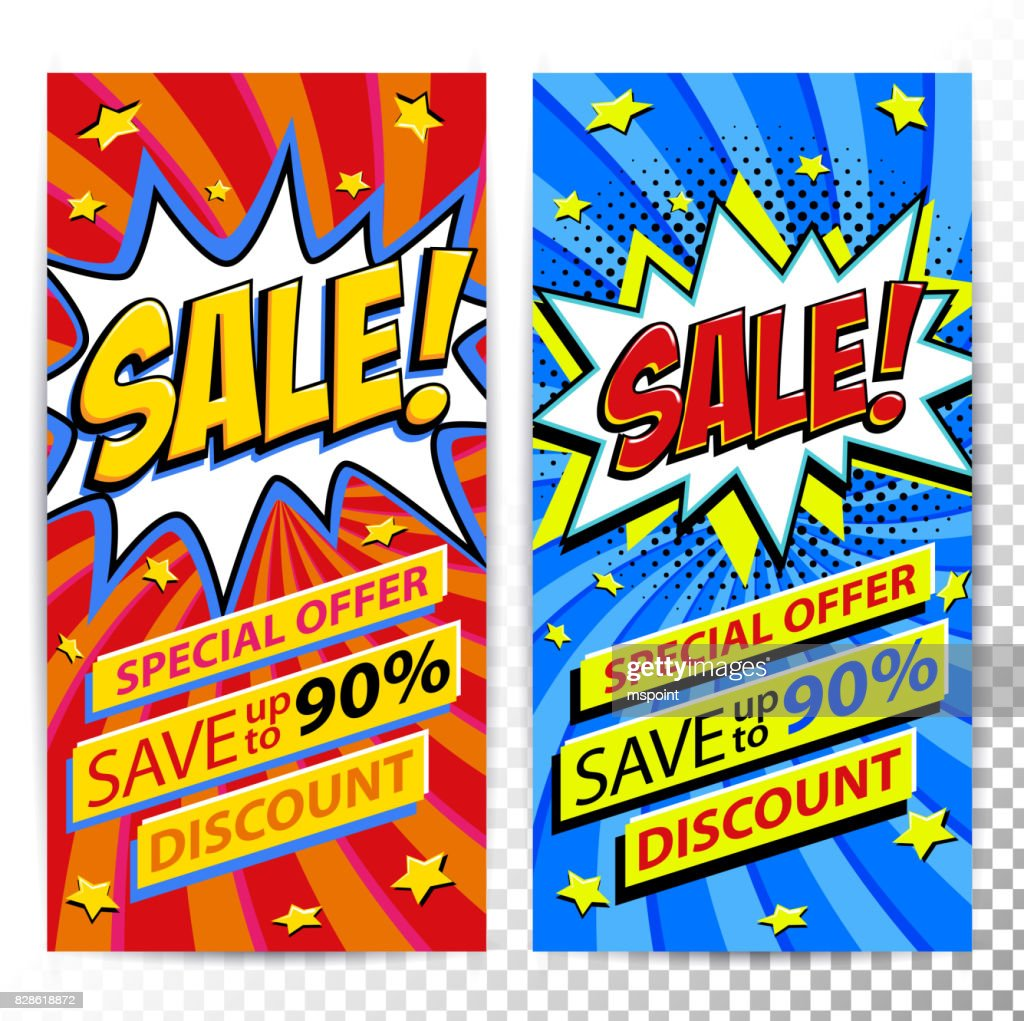 Sale web banners. Set of Pop art comic sale discount promotion banners. Big sale background. Decorative backgrounds with bomb explosive. Comics pop-art style bang shape on red and blue twisted background. Ideal for web banners
