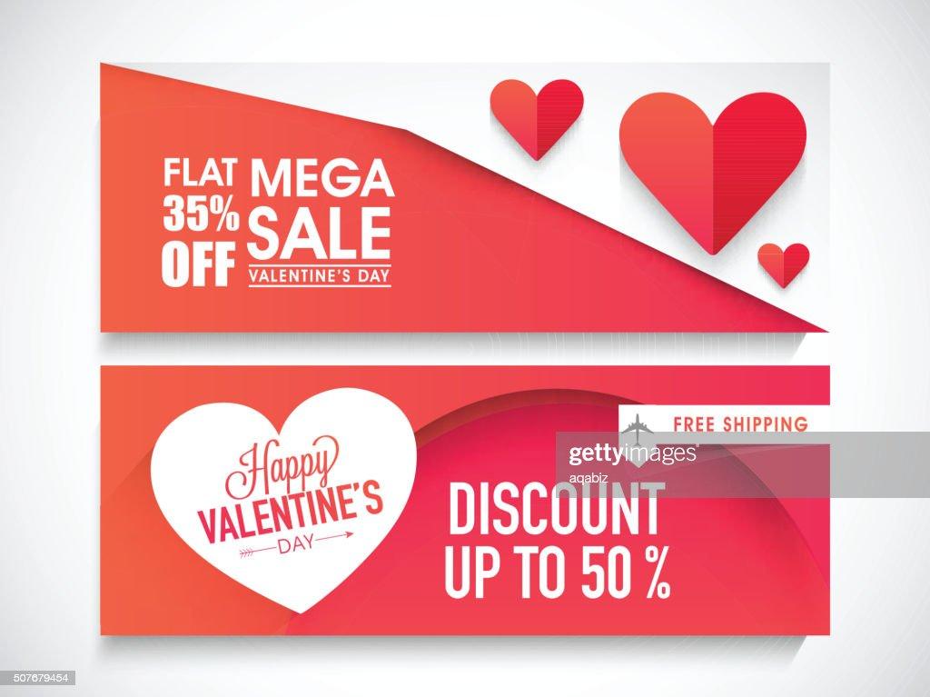 Sale web header or banner for Valentine's Day.