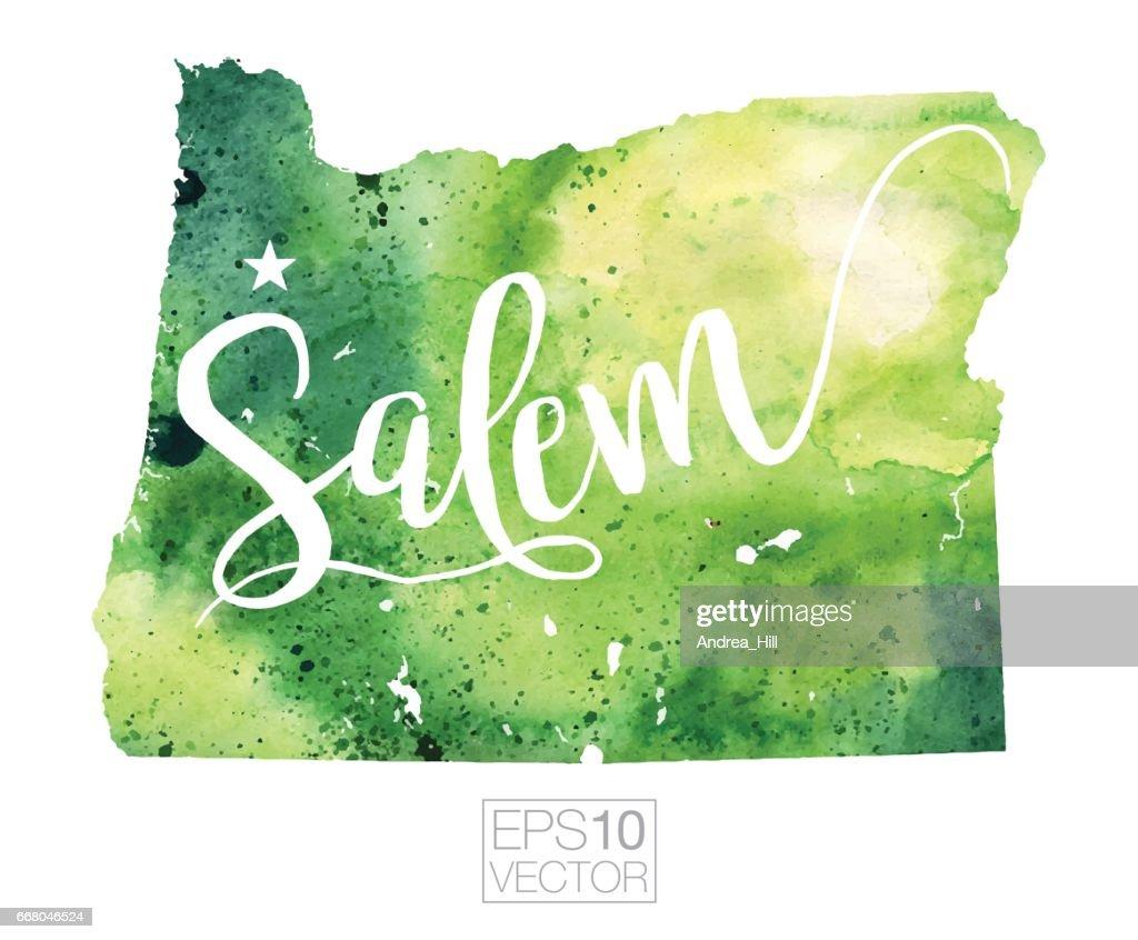Salem Oregon Usa Vector Watercolor Map Vector Art | Getty Images
