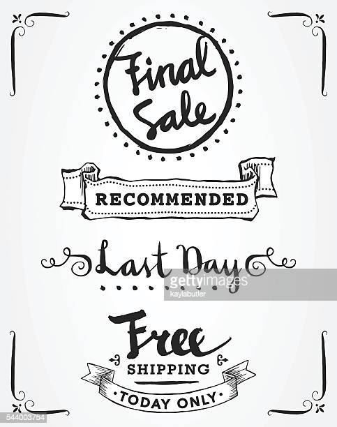 sales and promotions calligraphy set - free of charge stock illustrations