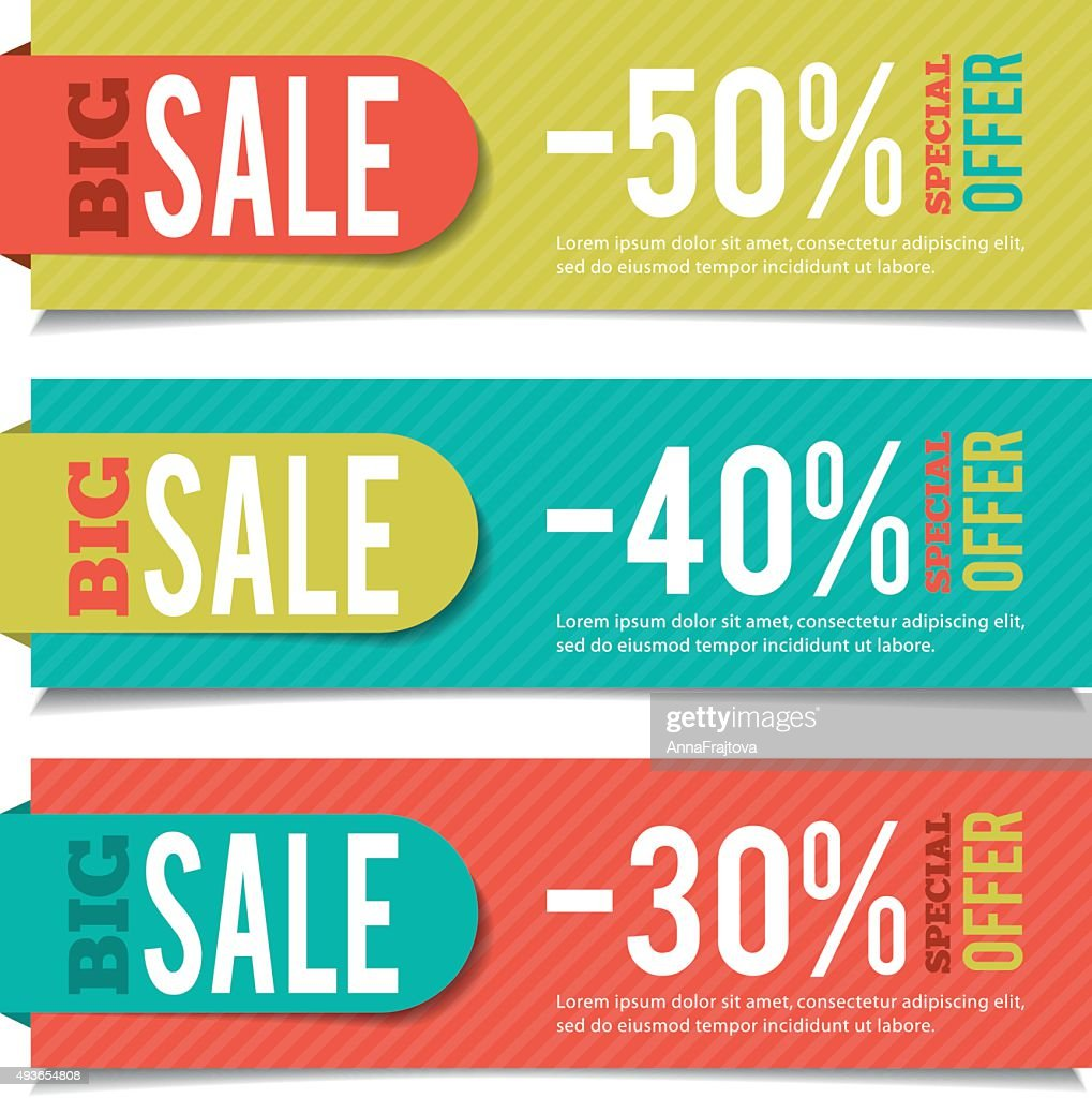 Sales banners for advertising and marketing events.
