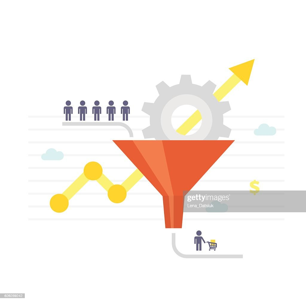 Sales funnel and growth chart. Conversion Optimization - vector illustration.