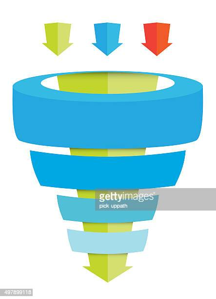 sales funnel chart with arrows - funnel stock illustrations