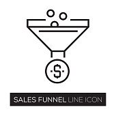 Sales Funnel Line Icon