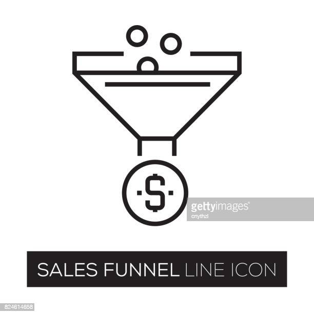 sales funnel line icon - funnel stock illustrations