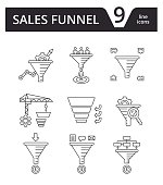 Sales Funnel - thin line icons vector set. Internet marketing strategy concept.
