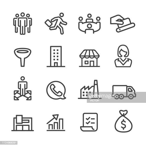 sales icons - line series - part of a series stock illustrations