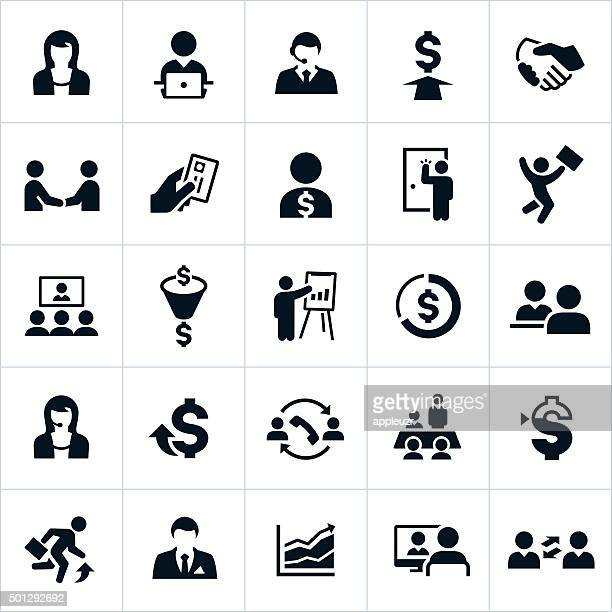 sales icons - sales occupation stock illustrations