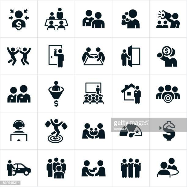 sales icons - consumerism stock illustrations