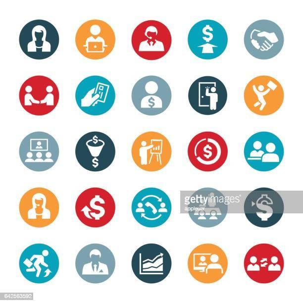 sales occupation icons - salesman stock illustrations