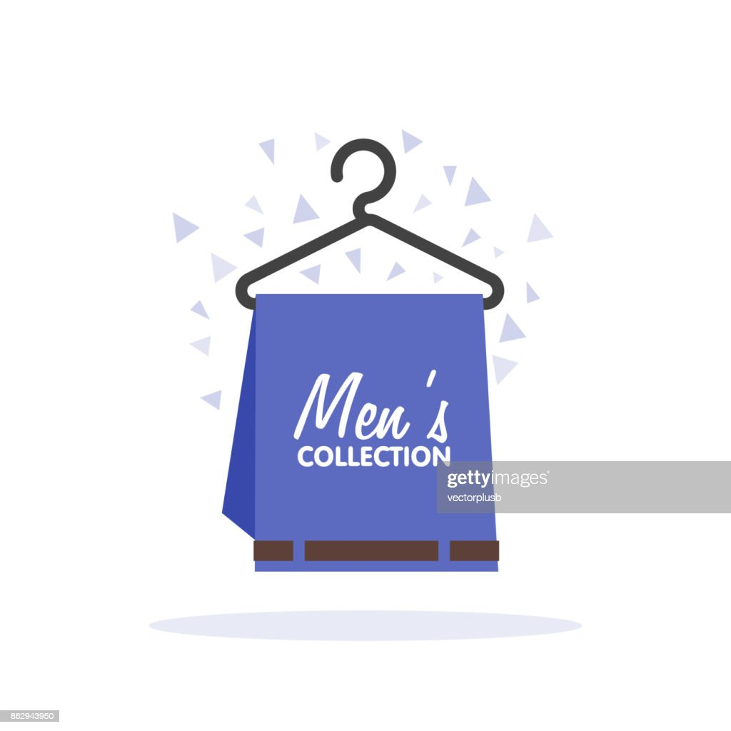Sales of mens clothing collection. Conceptual image, pants on a hanger, selling mens clothing collection. Vector flet illustration.