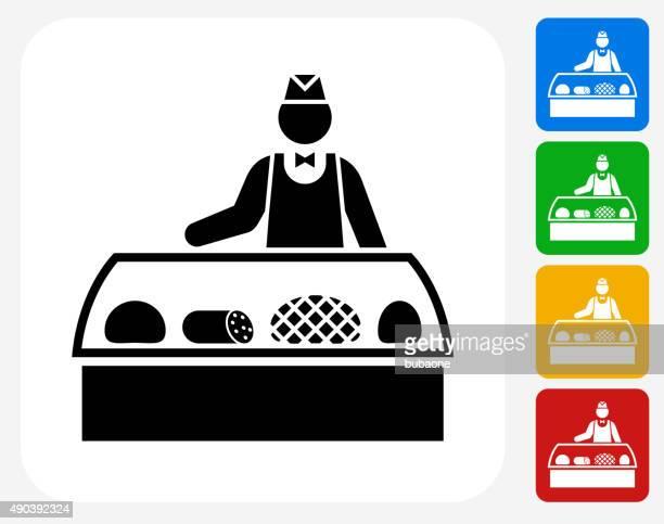 Verkäufer und Aufschnitt Symbol flache Grafik Design