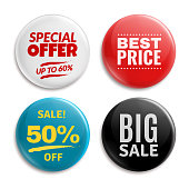 Sales pin badges. Circled badging button, 3d glossy price tag. Big sale, best price and special offer badge vector set