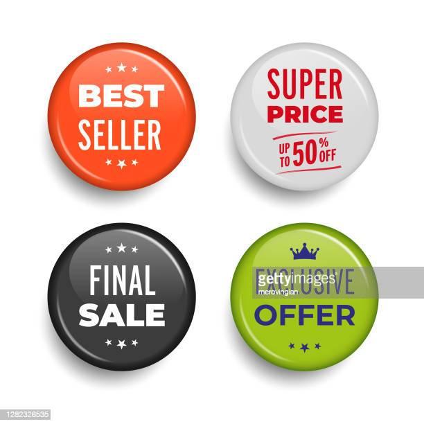 sales pin badges - brooch stock illustrations