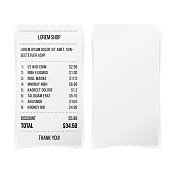 Sales Printed Receipt White Empty Paper Template Vector