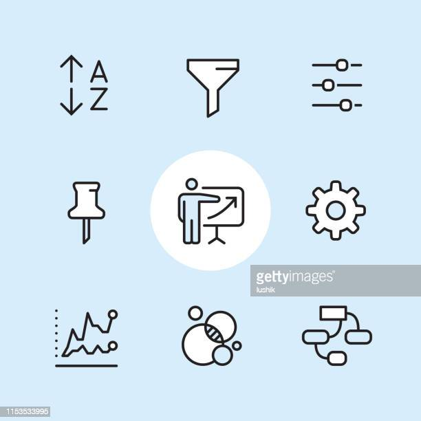 sales report - outline icon set - funnel stock illustrations