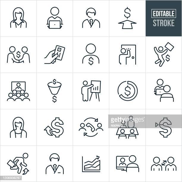 sales thin line icons - bearbeitbarer strich - geschäftliche aktivitäten stock-grafiken, -clipart, -cartoons und -symbole