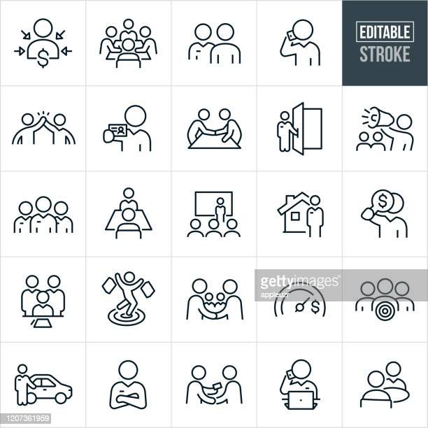 sales thin line icons - editable stroke - customer stock illustrations