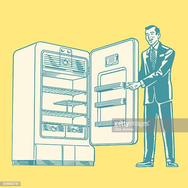 Salesman Showing a Refrigerator