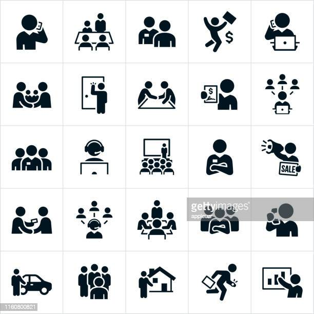 salesmen icons - stock trader stock illustrations