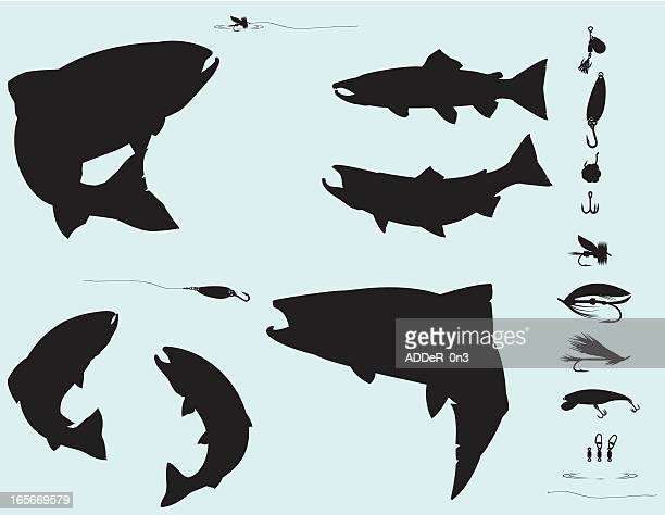 Salmon and Trout Fishing Silhouette Set