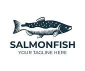 Salmon, fish and fishing, logo design. Underwater world, river and marine life, nature, vector design, illustration
