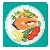 Salmon fish meat slice and vegetables vector illustration