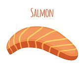 Salmon slice. Piece of fish, fillet, fish steak. Flat style.