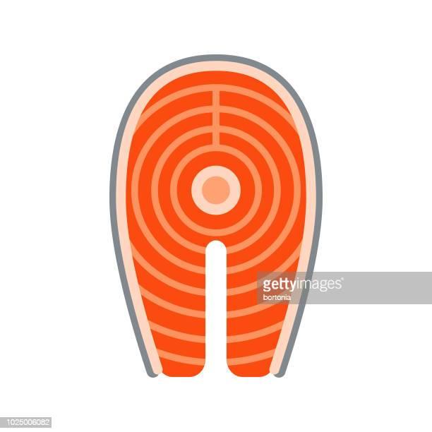 illustrations, cliparts, dessins animés et icônes de darne de saumon design plat viande icône - saumon