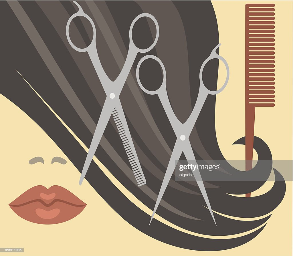 Salon haircut illustration with scissors and comb